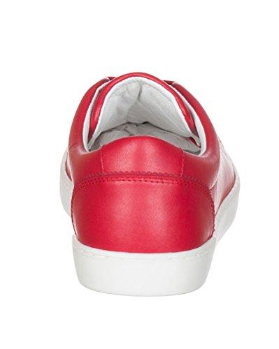 Dolce & Gabbana Scarpe Da Ginnastica Uomo In Pelle Rossa Cs0924 Rosso