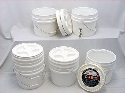 (Bucket Kit, Six 3.5 Gallon Buckets with White Gamma Seals)