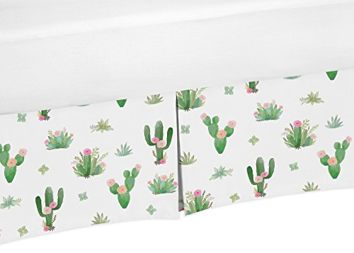 Pink Green Boho Baby Girl Pleated Crib Bed Skirt Dust Ruffle for Cactus Floral Watercolor Collection by Sweet Jojo Designs from Sweet Jojo Designs