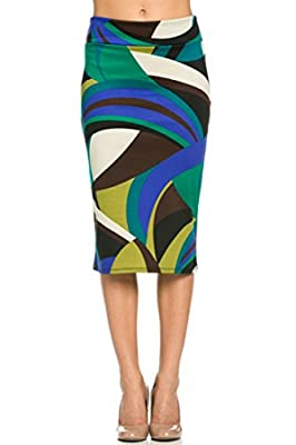 Plum Feathers Women's Below The Knee Pencil Skirt - Plus and Regular Sizes