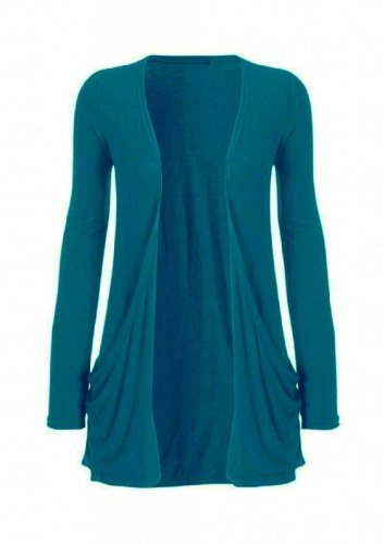 Hot Hanger Ladies Plus Size Pocket Long Sleeve Cardigan 16-26 (24-26 XXXL, Teal)