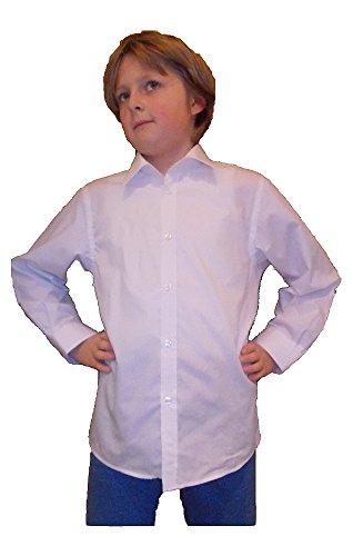 Kinderhemd, weiss, uni, Knopfmanschette