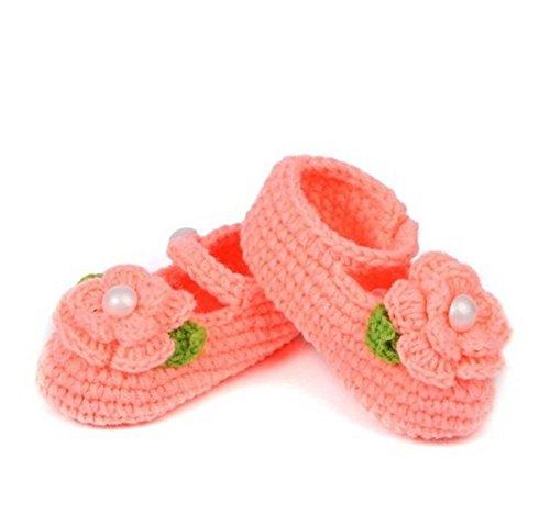nalmatoionme bebé recién nacido ganchillo calcetines sandalias para zapatos 1par (rojo sandía)