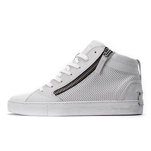 Sneakers Alte Uomo Bianche con Zip Laterali (Pelle, 40 IT)