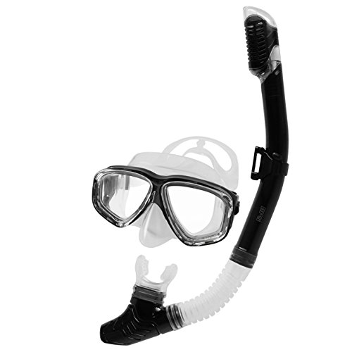 BPS Snorkeling Gear - Shatterproof Glass, Anti-Leak Silicone Skirt Adjustable Strap Diving Mask Dry Top and Purge Valve Snorkel Tube for Free Diving Snorkeling - Mask and Snorkel Tube Set (Black)