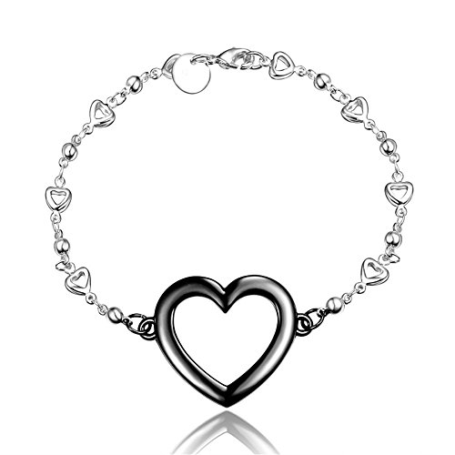 [BLOOMCHARM Black Charm Pendant Bracelet Sterling Silver plated, Birthday Gifts for Women Men Friends] (80s Prom Dress Costume Ideas)