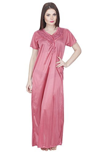 Secret Wish Women's Satin Nighty Satin Nighty/Nightwear/Multicolor Nighty NT-00198 Women's Nighties & Nightdresses at amazon