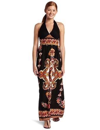 As U Wish Juniors Halter Long Dress, Black/Red, Medium