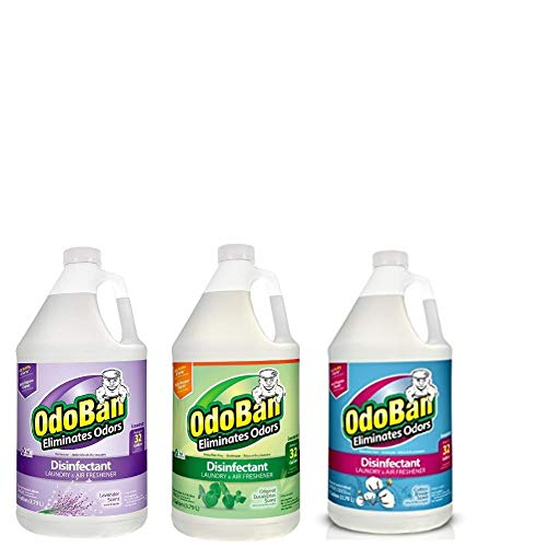 OdoBan Multipurpose Cleaner Concentrate Scent Assortment, 3 Gal (1 Each Original Eucalyptus, Lavender, Cotton Breeze)