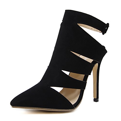 Women Heeled Sandals Ankle Strap Dress Sandals Stilettos Open Toe High Heel for Wedding Party Evening Shoes Black