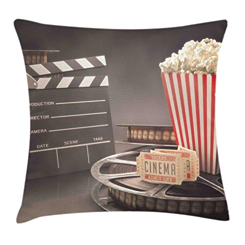 Ambesonne Movie Theater Throw Pillow Cushion Cover, Old Fashion Entertainment Objects Related to Cinema Film Reel Motion Picture, Decorative Square Accent Pillow Case, 18