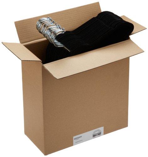 AmazonBasics Velvet Suit Hangers - 50 Pack, Black