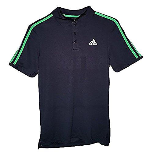 adidas Youth Big Boys Three Stripe Polo Shirt (Small/8, Navy/Solar Lime Green)