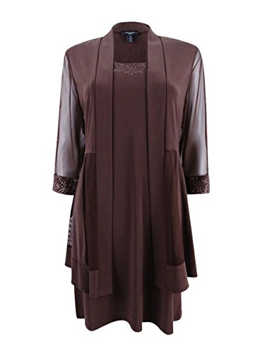 (R&M Richards Womens Petites 2PC Shimmer Dress with Cardigan Brown PM)