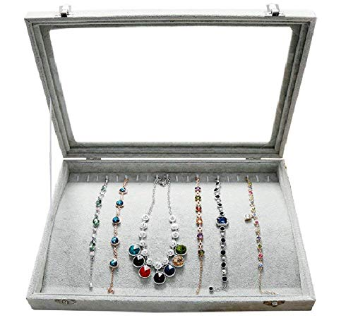 Pasutewel Velvet Glass Necklace Bracelet Anklet Display Storage Holder Jewelry Storage Box Case Organiser