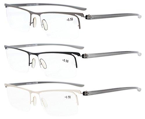 Eyekepper 3-Pack Plastic Temple Lightweight Half-rim Reading Glasses Men Women Mix - Reading Glasses Lense Half