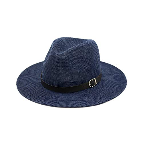 Unisex Summer Beach Sun Hat, Fedora Hats for Men, Panama Hat, Wide Brim Straw Hat with Leather Belt, Cowboy Cap Visor Blue