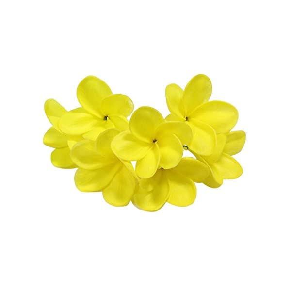 Winterworm Bunch of 10 PU Real Touch Lifelike Artificial Plumeria Frangipani Flower Bouquets Wedding Home Party Decoration (Yellow)