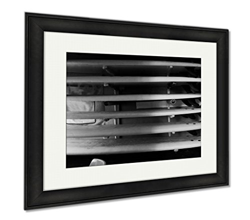 Ashley Framed Prints Surfboards On The Beach House, Office/Home/Kitchen Decor, Black/White, 30x35 (frame size), Black Frame, AG6520258 by Ashley Framed Prints