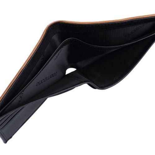 Men's Genuine Leather Business Bifold Slim Wallet ID Credit Card Holder Purse ( Vertical Style )