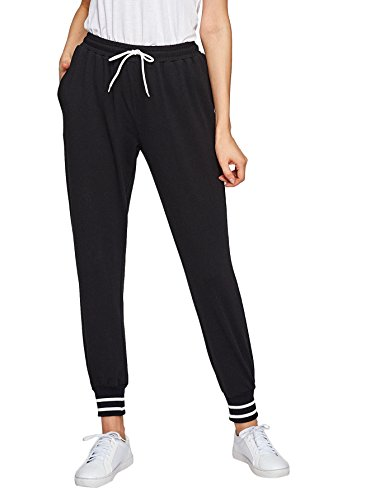 SweatyRocks Women Pants Colorblock Casual Tie Waist Yoga Jogger Pants Black L