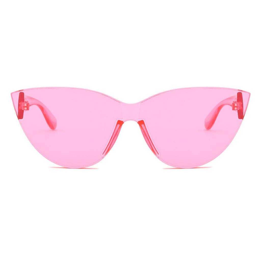 RAINED-Womens New Cat Eye Shade Sunglasses Integrated Stripe Vintage Glasses Colorful Lens Mini Narrow Square Glasses