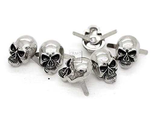 r Gun Black Skull Head Bone Prong Stud Gothic Style Ghost Studs Leather Craft Decorations Pack of 10 (Medium 10 x 15 mm, Silver) ()