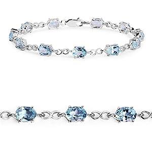 Blue Topaz .925 Sterling Silver Tennis Bracelet for Women 11.00ctw. from Johareez