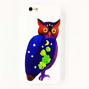 TY-Patrón de la estrella del búho luna del árbol del estuche rígido de policarbonato para el iPhone 5/5S , Multicolor