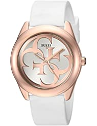 GUESS Womens Stainless Steel Silicone Casual Watch, Color: White (Model: U0911L5)