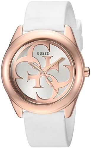 GUESS Women's Stainless Steel Silicone Casual Watch, Color: White (Model: U0911L5) - Round Logo Watch