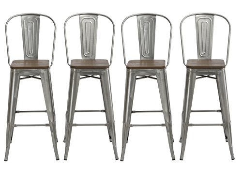 """BTEXPERT 30"""" Industrial Clear Metal Vintage Antique Style Distressed Brush Rustic Dining Counter height Bar Stool Chair High Back Handmade Wood top seat (Set of 4 Barstool )"""