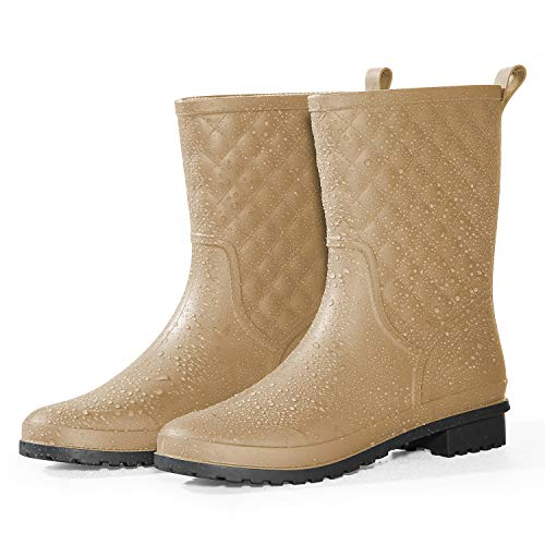 Petrass Women Rain Boots Black Waterproof Mid Calf Lightweight Cute Booties Fashion Out Work Comfortable Garden Shoes ()