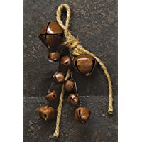 Set of 12 Rusted Jingle Bell Bunch on Jute String Ornaments for Crafting and Decorating