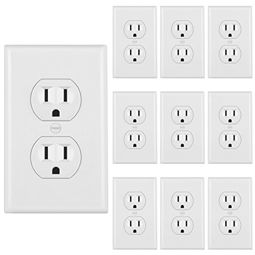 [10 Pack] BESTTEN 15A Duplex Receptacle, Electrical Wall Outlet, 3 Prong Self Grounding, 15A/125V/1875W, Wall Plates Included, Residential and Commercial Grade, UL Certified, White ()