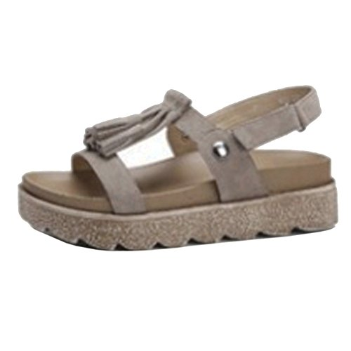 COOLCEPT Mujer Moda Flatform Sandalias Punta Abierta Velcro Zapatos With Borlas Gris