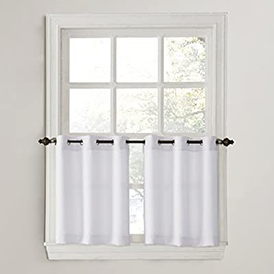 "No. 918 Montego Grommet Textured Kitchen Curtain Tier Pair, 56"" x 24"", White - Casual textured fabric Gently filters light while enhancing privacy Grommet top design allows for easy hanging on a cafe rod up to 0.75"" in diameter - living-room-soft-furnishings, living-room, draperies-curtains-shades - 41ZrU3NbqqL. SS400  -"