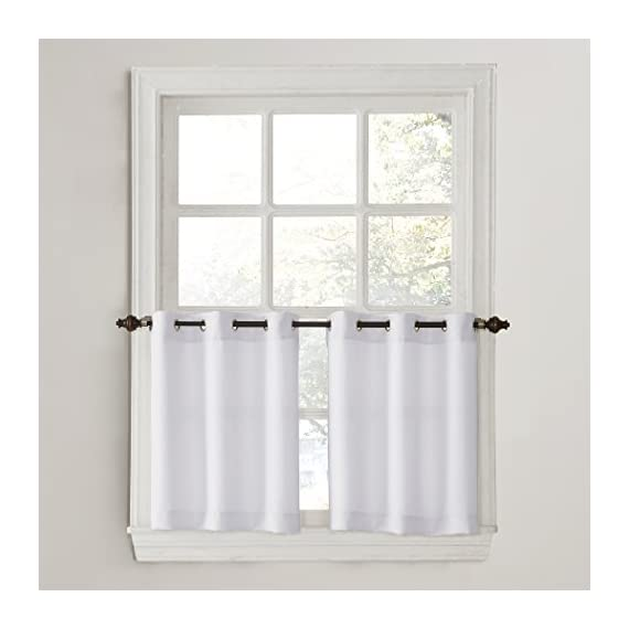 """No. 918 Montego Grommet Textured Kitchen Curtain Tier Pair, 56"""" x 24"""", White - Casual textured fabric Gently filters light while enhancing privacy Grommet top design allows for easy hanging on a cafe rod up to 0.75"""" in diameter - living-room-soft-furnishings, living-room, draperies-curtains-shades - 41ZrU3NbqqL. SS570  -"""