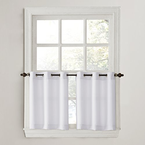 (No. 918 Montego Grommet Textured Kitchen Curtain Tier Pair, 56
