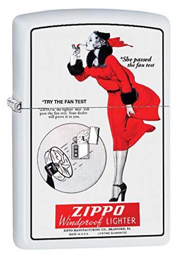 Zippo Lighter: Windy, Zippo Fan Test - White Matte 79965
