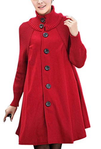Feeson-Womens-Single-Breasted-Stand-Collar-Classic-Trench-Coat-Red
