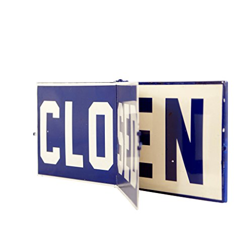 VIPSSCI Open/Closed Metal Hinged Sign Blue Vintage
