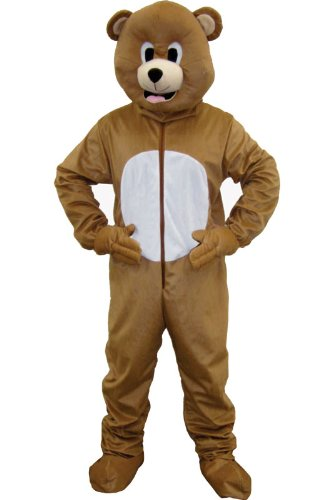 Dress Up America Bear Mascot, Brown, Adult One Size -