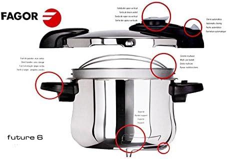 Fagor - Future 6 - Cuerpo de 6 litros, tapa para olla rápida, Cestillo multiuso, aptas para todos tipos de fuegos, Sist Válvular, Cierre Automatico, Posicion Descompresion: Amazon.es: Hogar