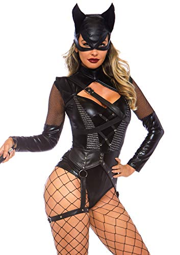 Leg Avenue Womens Villainess Vixen Sexy Cat Woman Costume, Black, Large
