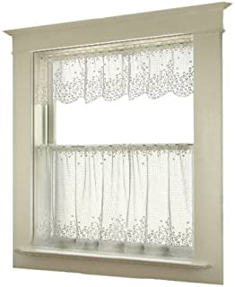 product image for Heritage Lace Blossom 42-Inch Wide by 30-Inch Drop Tier, White