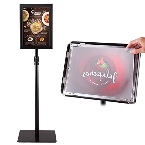 Goplus A4 Adjustable Pedestal Poster Stand Snap-in Frame Store Sign Holder w/Heavy Square Steel Base 8'' x11''