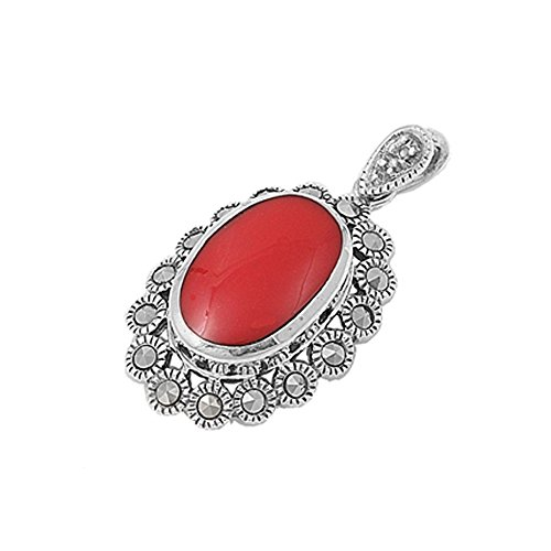 Sterling Silver Victorian Era Marcasite & Red Coral Oval (Red Coral Oval Pendant)