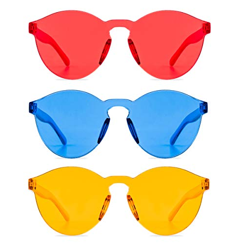 One Piece Rimless Sunglasses Transparent Candy Color Tinted Eyewear (Red+Orange+Blue, thin)