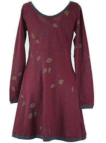 Damen Kurze Kleid Shop Boho Leave Kleider Bekleidung Guru Organic Baumwolle Alternative Minikleid Bordeaux wZ8xnO